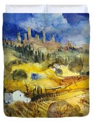 Tuscan Landscape - San Gimignano Duvet Cover