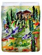 Tuscan Sunset Italian Hillside Landscape Duvet Cover