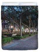 Twilight Panorama Of Charleston Waterfront Park Promenade And Shady Canopy Of Oaks - South Carolina Duvet Cover