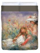 Two Children Seated Among Flowers, 1900 Duvet Cover