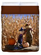Two Cute Scarecrows With Pumpkins In The Dry Corn Field Duvet Cover