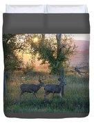 Two Deer Sunset Duvet Cover