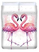 Two Flamingos In Love Watercolor Duvet Cover