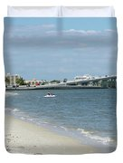 Two Men Set Out On Jet Skis From A Sanibel Island Causeway Islan Duvet Cover