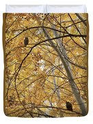 Two Owls In Autumn Tree Duvet Cover