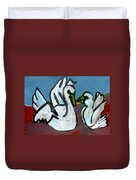 Two White Swans Duvet Cover