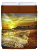 Twr Mawr Lighthouse Sunset Duvet Cover by Adrian Evans