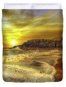 Twr Mawr Lighthouse Sunset Duvet Cover