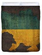 Ukraine Country Flag Map Duvet Cover