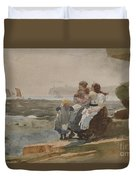 Under The Cliff, Cullercoats , 1881 Duvet Cover