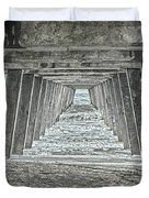 Under The Tybee Island Pier Duvet Cover by Judy Hall-Folde