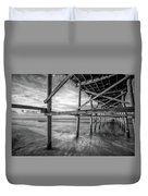 Uner The Pier In Black And White Duvet Cover