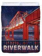 Union Railroad Bridge - Riverwalk Duvet Cover by Clint Hansen