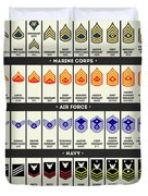 United States Armed Forces Enlisted Rank Insignia Duvet Cover