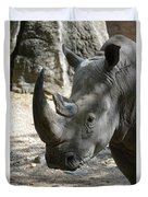 Up Close Look At The Face Of A Rhinoceros Duvet Cover