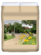 Urban Pathways Butler Park At Austin Hike And Bike Trail With Train Duvet Cover