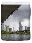 Urban Skyline Of Austin Buildings From Under Bridge With Stormy  Duvet Cover