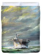 Uss Enterprise Returns To Pearl Duvet Cover