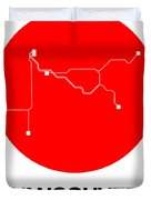 Vancouver Red Subway Map Duvet Cover