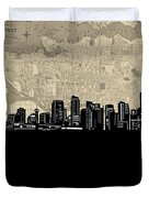 Vancouver Skyline Map Duvet Cover