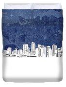 Vancouver Skyline Map Blue Duvet Cover