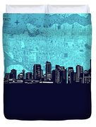 Vancouver Skyline Map Turquoise Duvet Cover