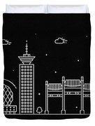 Vancouver Skyline Travel Poster Duvet Cover