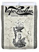 Vapo-cresolene Vaporizer Original Packaging Black And White Duvet Cover