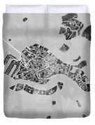 Venice Italy City Map Duvet Cover