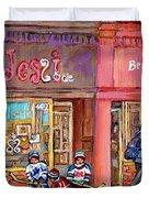 Verdun Montreal Storefront Painting Jessie Et Cie Beaute Candy Nail Shop Hockey Artist C Spandau Art Duvet Cover