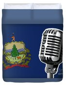 Vermont Flag And Microphone Duvet Cover