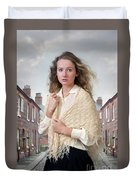 Victorian Woman On A Cobbled Terraced Street Duvet Cover