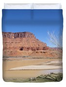 View From A Cabin At Sorrel River Ranch On The Colorado River Ne Duvet Cover