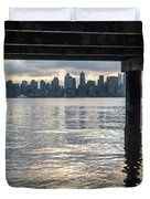 View Of Downtown Seattle At Sunset From Under A Pier Duvet Cover