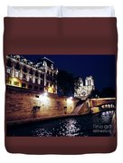 View Of Notre Dame From The Sienne River In Paris, France Duvet Cover
