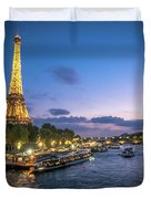 View Of The Eiffel Tower During Sunset From The Scene River Duvet Cover