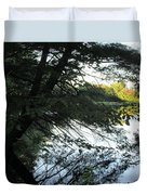 View Of The Lake Through The Branches Duvet Cover