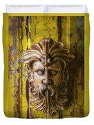 Viking Mask On Old Door Duvet Cover
