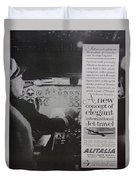 Vintage Alitalia Airline Advertisement Duvet Cover