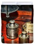 Vintage Apothecary Pharmacist Weights And Scale Duvet Cover