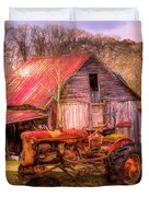 Vintage At The Farm Watercolors Painting Duvet Cover