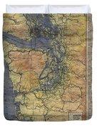 Vintage Auto Map Western Washington Olympic Peninsula Hand Painted Duvet Cover