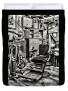 Vintage Dentist Office And Drill Black And White Duvet Cover