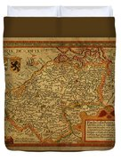 Vintage Map Of Belgium And Flanders Duvet Cover