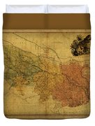 Vintage Map Of Bengal Duvet Cover