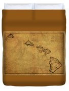Vintage Map Of Hawaii 1837 Duvet Cover