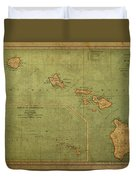 Vintage Map Of Hawaii Duvet Cover