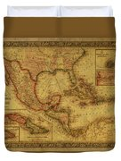 Vintage Map Of Mexico Duvet Cover