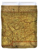 Vintage Map Of Montana Duvet Cover