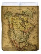 Vintage Map Of North America 1858 Duvet Cover